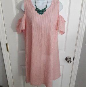 Espresso pink stripped dress size medium
